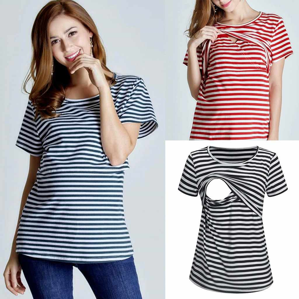 TELOTUNY Women Mom Pregnant Nursing tops Short sleeve Striped Print t-shirt Maternity Top For Breastfeeding Blouse Clothes zj29