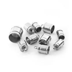 20pcs/lot Stainless Steel Spacer End Caps End Beads Connector Necklace Cord Tips Engraved For Jewelry Making DIY Accessories