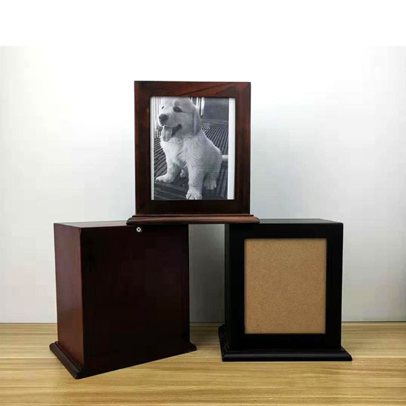 Simple Photo Frame Wood Pet Cremation Urn For Ashes Perfect Resting Place