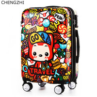 CHENGZHI high quality cartoon rolling luggage spinner unversal wheel 2024inch cute kids boarding trolley travel suitcase