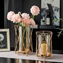 Acessórios de decoração para casa ouro castiçal de vidro sala estar decoração do casamento mesa centerpieces castiçal presentes