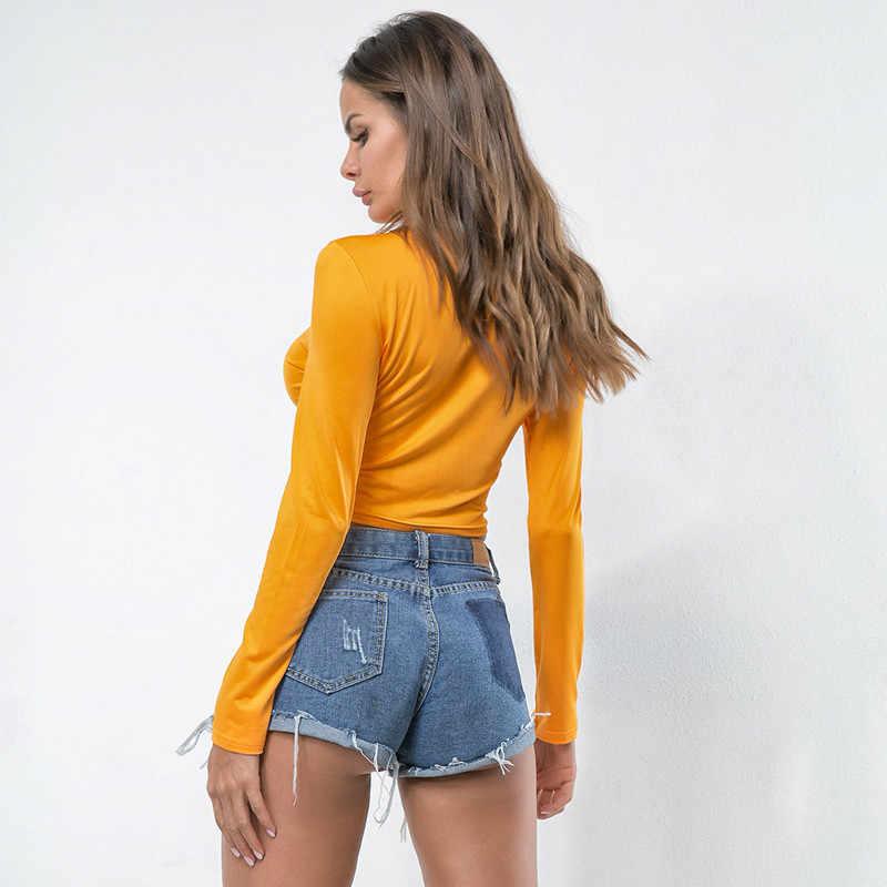 LOSSKY 2020 Hot New Sexy T-Camicette Donna Nero Bianco Plaid A Scacchi Sottile Corp Top Femminile T-Shirt A Maniche Lunghe T Camicette Top
