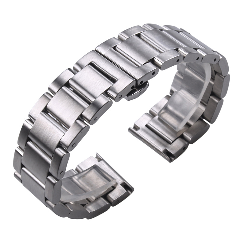 Solid 316L Stainless Steel Watchbands Silver 18mm 20mm 21mm 22mm 23mm 24mm Metal Watch Band Strap Wrist Watches Bracelet(China)
