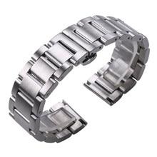 Одноцветное 316L Нержавеющаясталь Ремешки для наручных часов Серебряный 18 мм 20 мм 21 мм 22 мм 23 мм 24 мм Metal Band Watch ремешок на запястье Часы брасле...