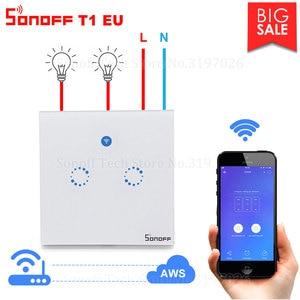 Image 1 - Itead Sonoff T1 EU 2 Gang 1 voie Wifi interrupteur mural sans fil relais de lumière à distance App contrôle tactile Wifi commutateur intelligent travailler avec Alexa