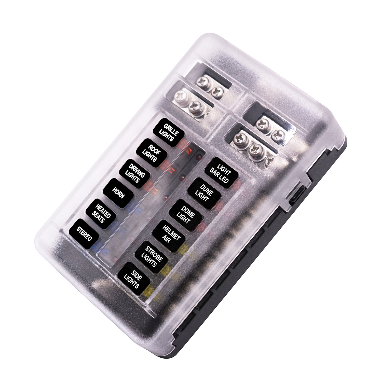 Caja de Fusibles de 12 V/ías Carro de 32 V Soporte de Bloque de Caja de Fusibles de Hoja de 12 V/ías con Indicador LED