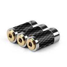 2 uds. De conector de Audio Mini Jack de 2,5mm y 3,5mm, adaptador de Metal para asiento femenino, conector equilibrado de cobre y fibra de carbono dorada para auriculares