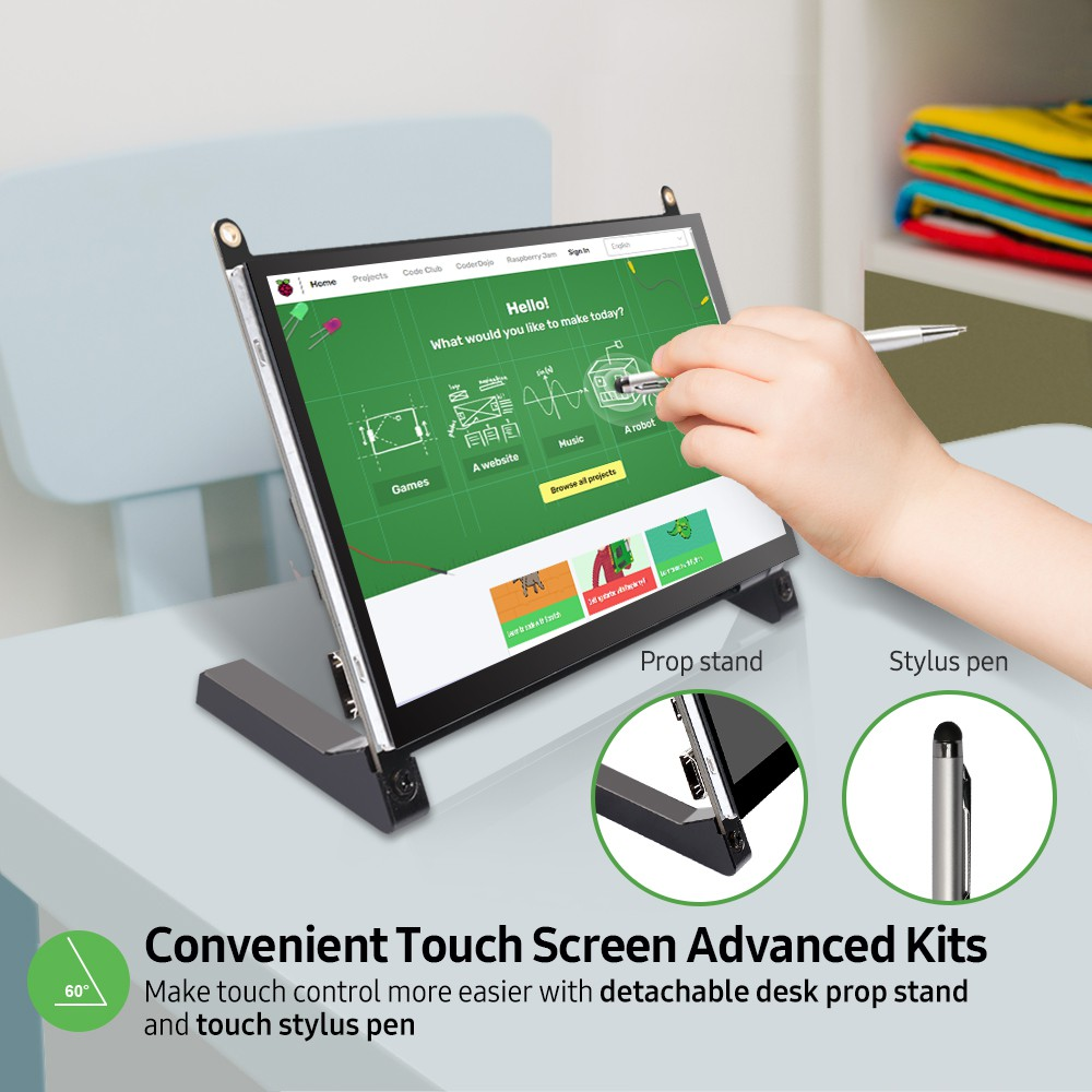 UPERFECT Portable Monitor Raspberry Pi touch screen 7-inch 1024X600 with dual speakers portable capacitive IPS display with HDMI 4