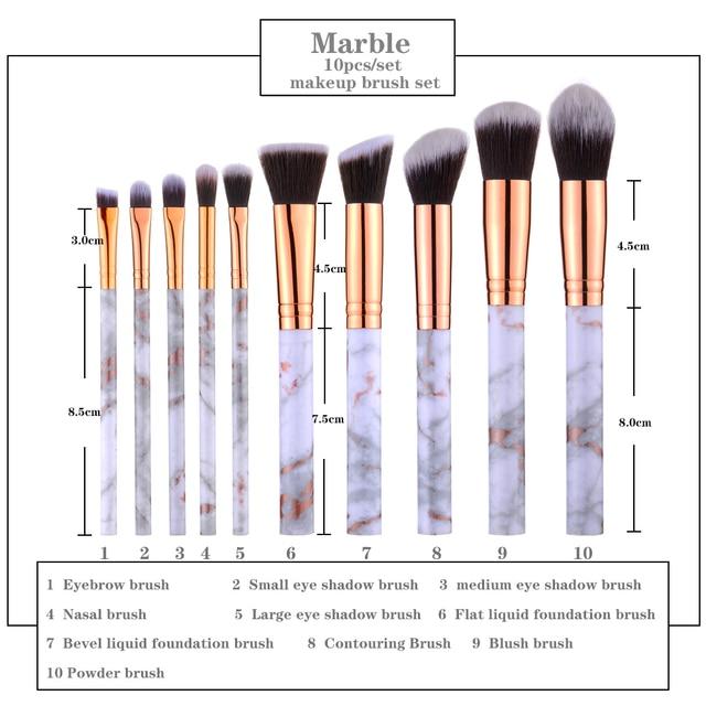 FLD 10 Pcs/ 8 Pcs professional makeup brush Set tools Powder Foundation Eyeshadow Lip Eyeliner Blush Marble Face Makeup Brushes 4