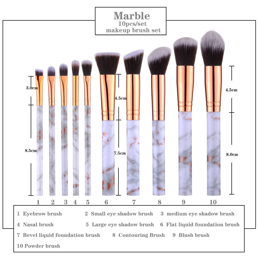 Field 10 Pcs/ 8 Pcs Profesional Makeup Brush Set Alat Bubuk Foundation Eyeshadow Bibir Eyeliner Blush Marmer Makeup Muka kuas