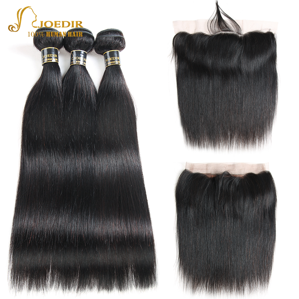 Joedir Hair Lace Frontal Closure With Bundles Non Remy Brazilian Straight Weave 3 Bundles Human Hair Bundles With Frontal