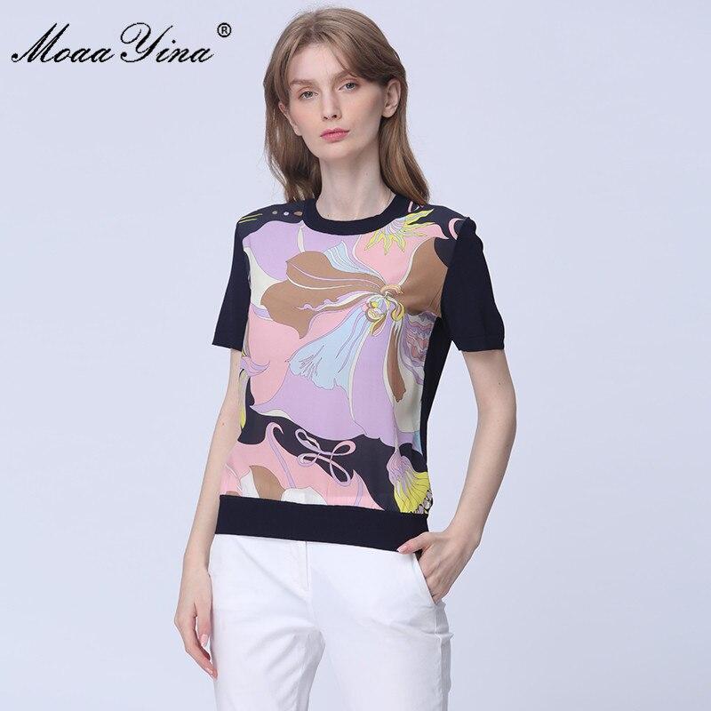 MoaaYina High Quality Fashion Spring Autumn Short Sleeve Knitting Tops Women's Elegant Print Silk Wool Sweater Pullovers