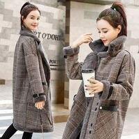 New Autumn Winter Women Coats Plus Size Plaid Thick Turn Down Collar Imitation Lamb Fur Woolen Blend Coat For Women Outerwear