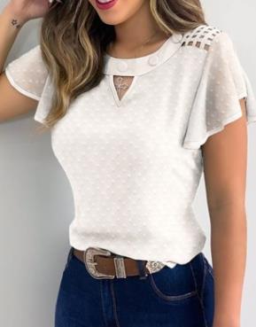 Купить женская футболка с рукавами оборками летние модные повседневные