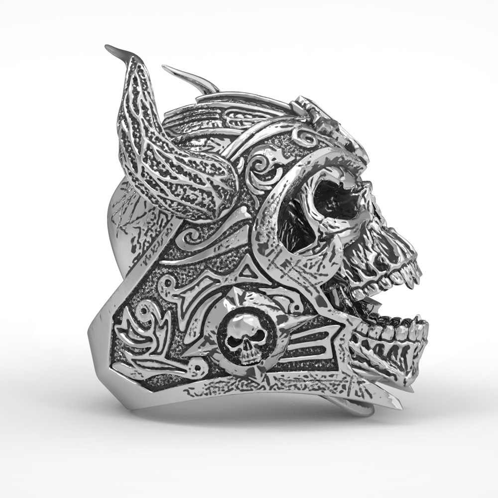 ฟรีพัดลม VINTAGE Black OX Horn Gothic Skull แหวนอัศวิน Templar หมวกกันน็อกนักรบแหวนผู้ชาย Punk ROCK BIKER เครื่องประดับ