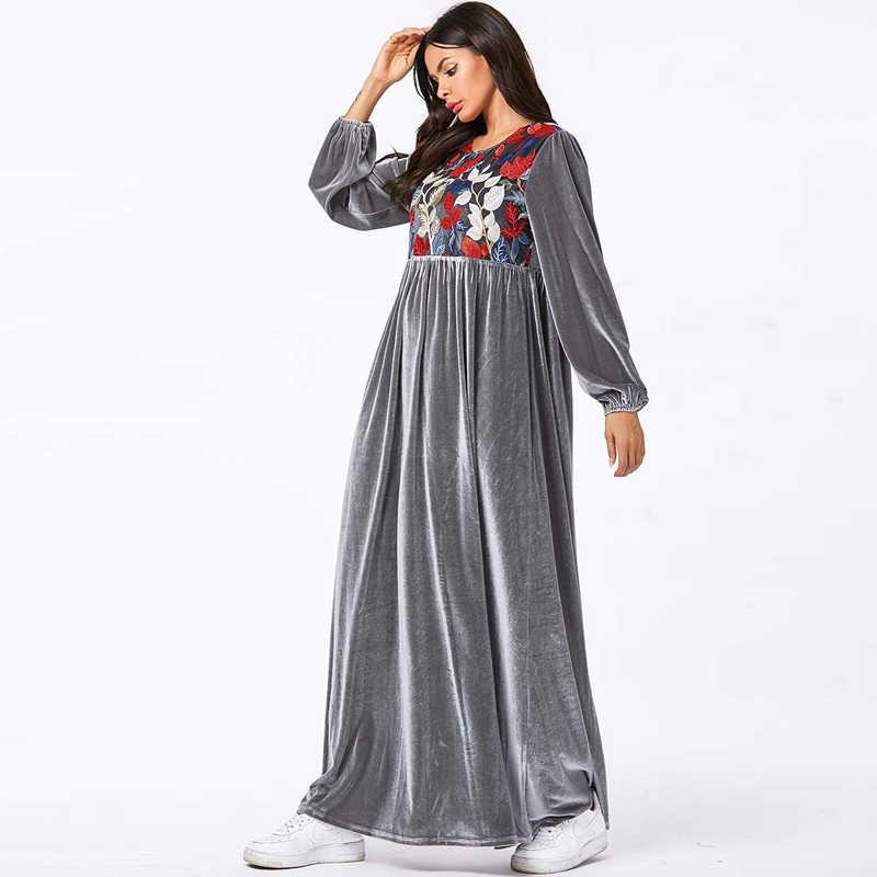 벨벳 Abaya 터키 이슬람 아랍어 긴 이슬람 드레스 Caftan Kaftan Tesettur Elbise Hijab 드레스 Vestidos Robe Musulmane Longue