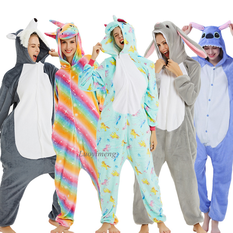 Kigurumi Panda Stitch Onesies For Women Pajamas Animal Adults Cartoon Sleepwear Winter Unicorn Pyjama Kugurumi Nightie Overalls
