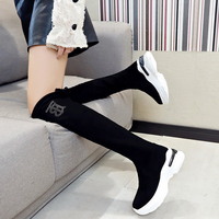 Zhenweimei fashion Thick bottom Thigh High Flat Platform Sock Shoes Female Socks Mid Boots Breathable Women Autumn Sneakers