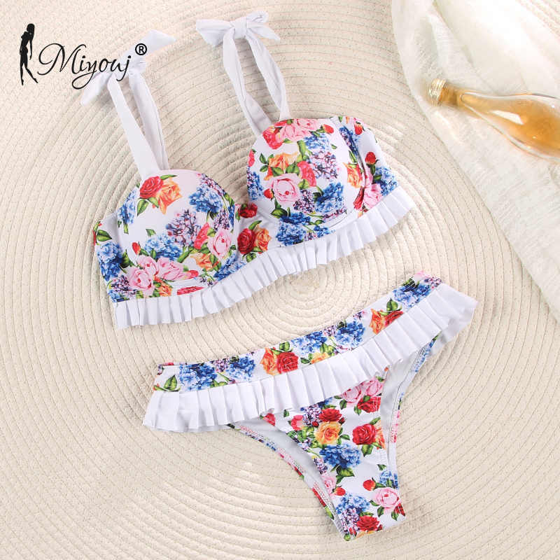 Miyouj Gợi Cảm Ren Biquini Cốc Bikini 2020 Hoa Đồ Bơi Nữ Váy Tắm Biển Phù Hợp Đẩy Lên Bộ Bikini In Đồ Bơi Nữ