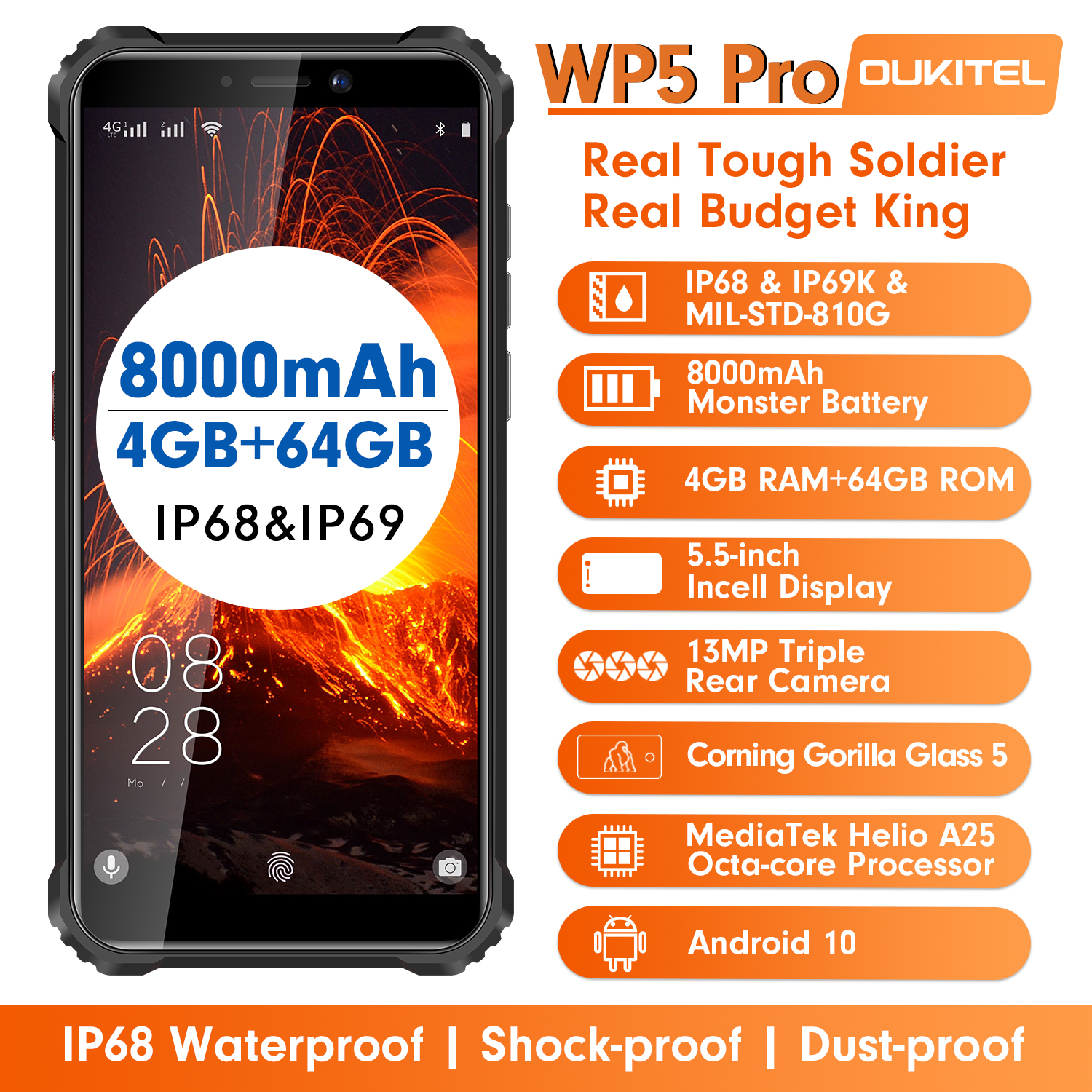 OUKITEL Wp5-Pro IP68 64GB 4gbb GSM/WCDMA/LTE Quick Charge 2.0 Bluetooth 5.0/5g wi-fi/Gorilla glass