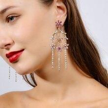 Корейские элегантные красочные блестящие Кристальные серьги