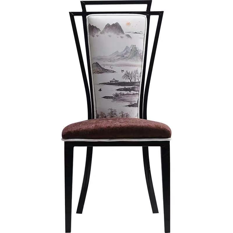 Mahjong chair wrought iron soft backrest cushion stool home hotel restaurant new Chinese classical dining chair