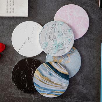 W marmurowym stylu podstawki pod kubek Nordic izolowane okrągłe ceramiczne kawy podstawki pod kubek chłonne podstawki ślubne podkładka kuchenna tanie i dobre opinie CN (pochodzenie) Ekologiczne Tradycyjny chiński ROUND Dining Table Mat kitchen table kitchen accessories coaster set