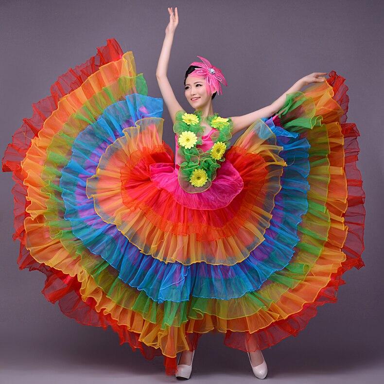 Брендовое женское цветное платье юбка испанский бой быков Танцевальное представление открытие танцевальное платье сценическая одежда