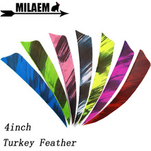 100pcs 4inch Archery Turkey Feather Arrow Feathers Fletching Natural Carbon Bamboo Wooden Shooting Accessories