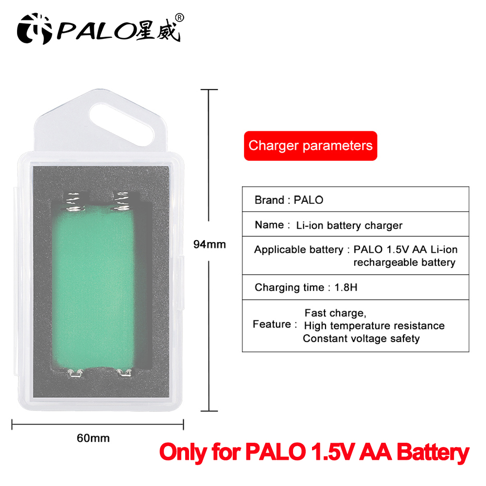 Palo 2800mWh 1.5V AA lithium rechargeable battery charger USB charger only for PALO 1.5V AA battery
