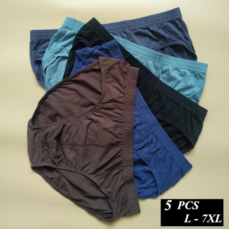5 pcs/lot 100% Cotton Mens Briefs Plus Size Men Underwear Panties 4XL/5XL/6XL /7XL