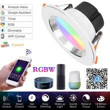 Wi fi светодиодный вниз светильник потолочный серебристый rgbw