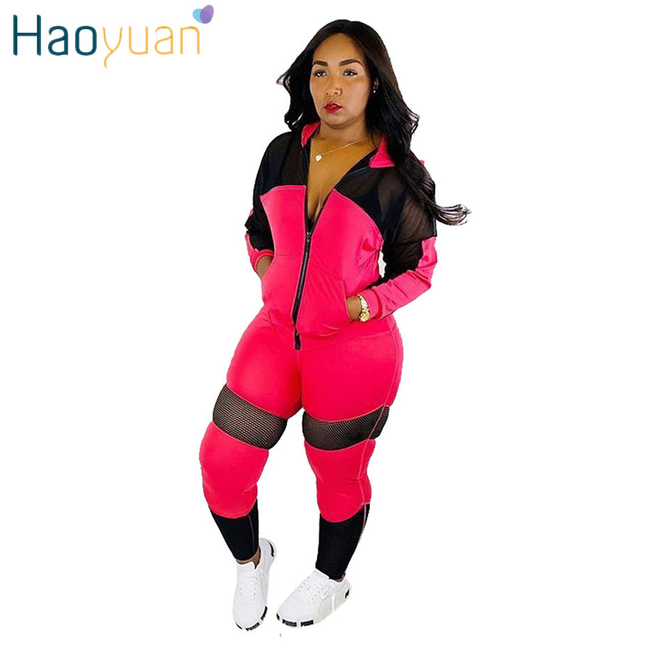 HAOYUAN Two Piece Set Fall Clothes Casual Tracksuit Long Sleeve Mesh Splice Top And Pant Sweatsuit 2 Piece Outfits For Women