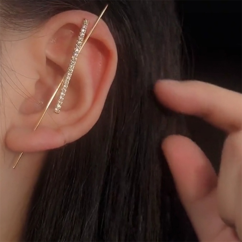 Fashion Elegant Row Rhinestone Zircon Women Clip Earrings New Arrival Korean Trend Female Earring Outdoor Party Birthday Jewelry