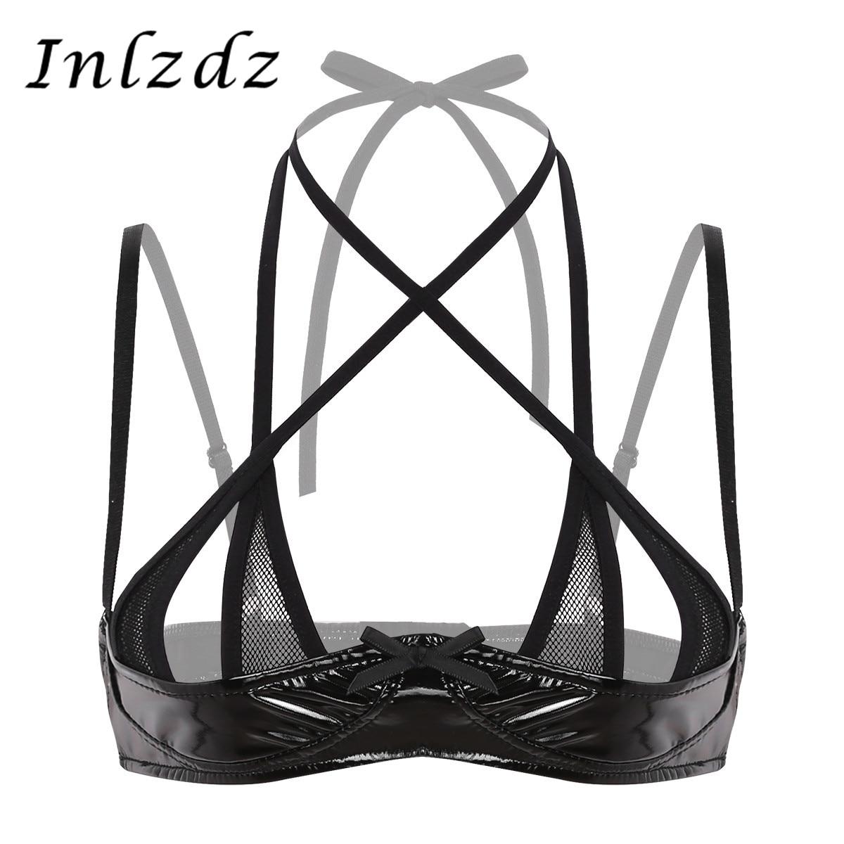 Women's Latex Leather Bra For Sex Wetlook Lingerie Halter Neck Adjustable Spaghetti Shoulder Straps Front Cross Shelf Bra Top