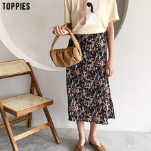 Toppies 2020 summer floral printing midi skirs high waist skirts korean fashion