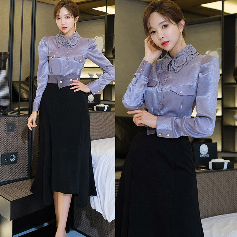 2020 Spring Clothing New Products Ol Career Elegant Fold-down Collar Slim Fit Shirt Mid-length Irregular Skirt Two-Piece Women's