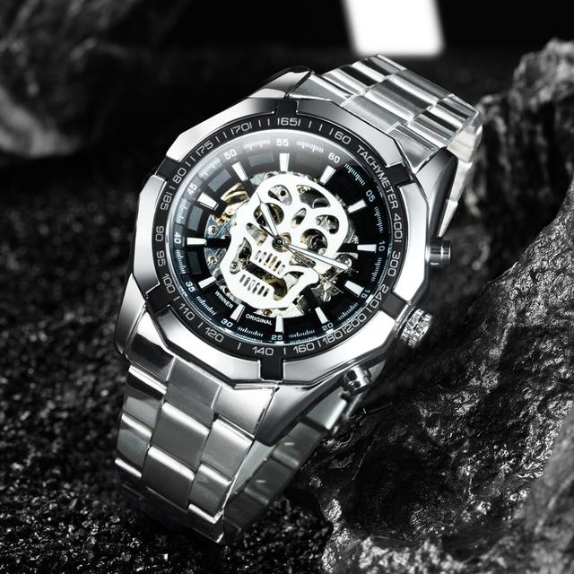 WINNER Official Automatic GOLD Watch Men Steel Strap Skeleton Mechanical Skull Watches Top Brand Luxury Dropshipping Wholesale 3