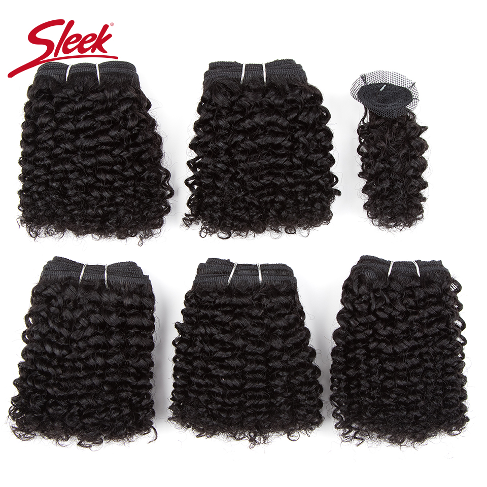 Sleek Double Drawn Natural Color 4/27 Brown Short Indian Kinky Curly Bundles With Clocure Cheap 5 Bundles Hair Weave Extension