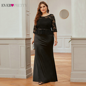 Plus Size Black Lace Evening Dresses Ever Pretty Mermaid 3/4 Sleeve O-Neck Side Split Sexy Formal Party Gowns Robe De Soiree - discount item  35% OFF Special Occasion Dresses
