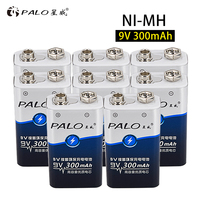 PALO 8Pcs High Quality 6LR61 6F22 9V Nimh NI MH 300mah Rechargeable Batteries for Camera Toys Remote Controller Free shipping