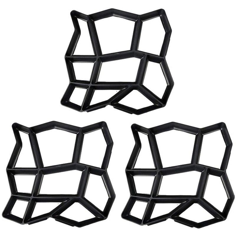 WSFS Hot 3 Pack Irregular DIY Pavement Mold Walk Maker Path Maker Brick Mold Concrete Form Pathmate Stepping Stone Molds for Gar
