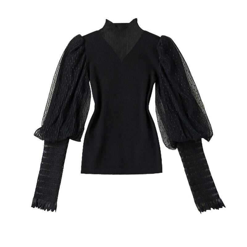 Pull femmes 2019 automne mode nouveau demi col roulé à pois maille fil lanternes manches Slim noir haut tricoté femme
