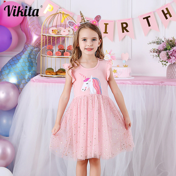 VIKITA Girls Unicorn Tutu Dress Kids Dresses for Party Wedding Toddlers Kids Summer Dresses for Girls Children Princess Dress vikita girls unicorn dress princess tutu dress for girls children birthday party licorne vestidos kids autumn winter dresses
