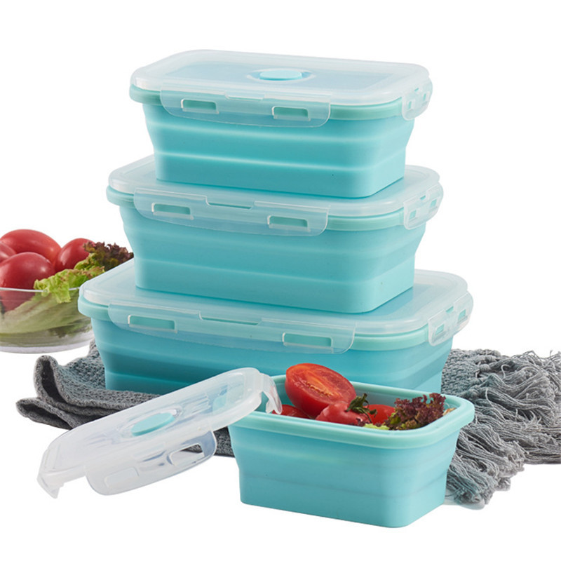 Silicone Folding Bento Box Collapsible Portable Lunch Box For Food Dinnerware Food Container Silicone Bowl For Children Adult
