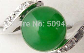 จัดส่งฟรี 18KGP สีขาวทองชุบเขียวหยกผู้หญิงแหวน AAA ขนาด #7 #8 #9