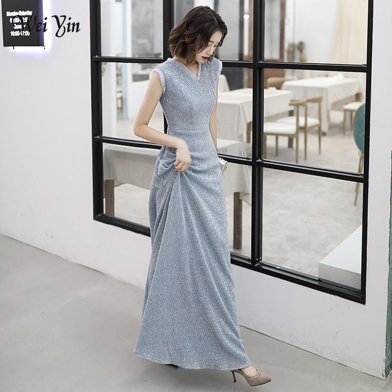 AE0134 wei yin 2019 Sexy V Neck Sequin Long   Evening     Dress   Elegant A Line   Evening   Gowns Robe De Soiree Longue