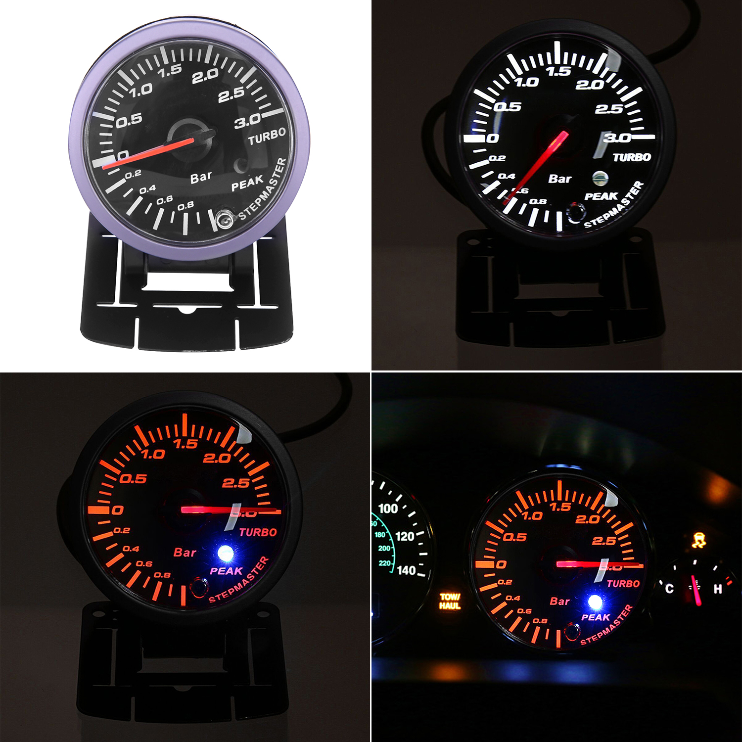 2.5 60mm Universal Car LED Turbo Boost Vacuum Press Pressure Gauge Bar Meter