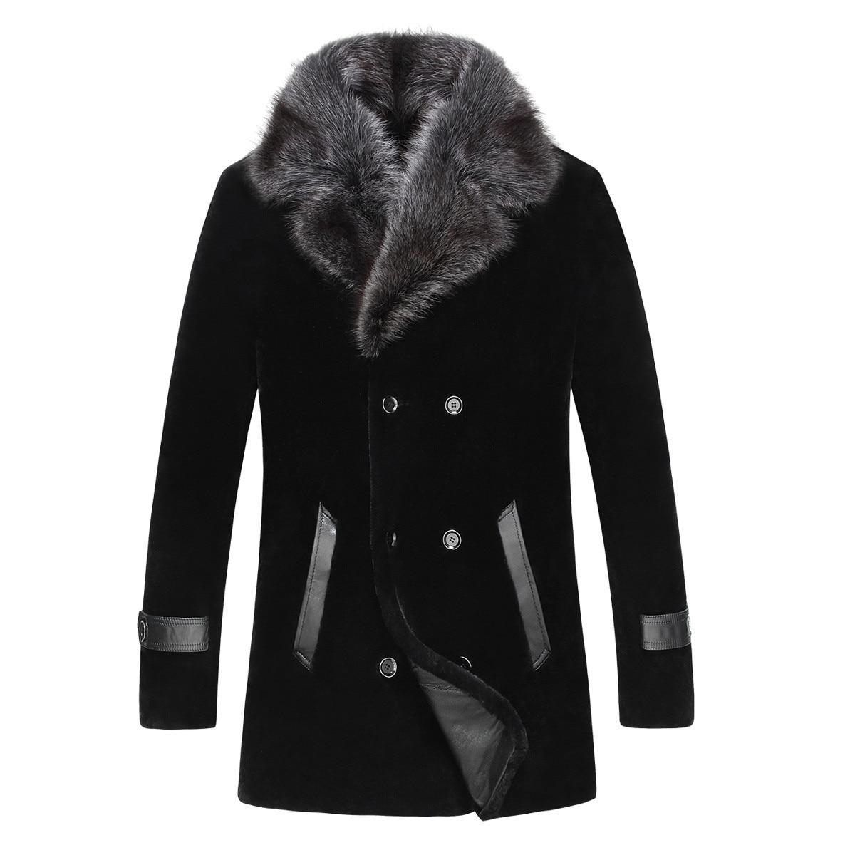 Real Sheep Shearling Fur Coat Men's Winter Jacket Real Raccoon Fur Collar 100% Wool Fur Coats Plus Size 5xl  LSY080870 MY1838