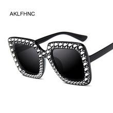 Lunettes de soleil surdimensionnées pour femmes, Top strass, marque de luxe, styliste, nuances carrées, mode rétro noir
